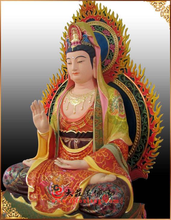 铜像观音菩萨侧面彩绘描金塑像